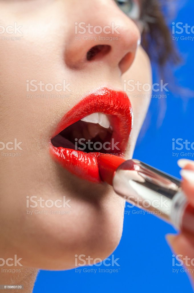 red lipstick on lips stock photo