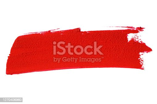 Red lipstick smear smudge swatch including Clipping Path. Makeup texture.