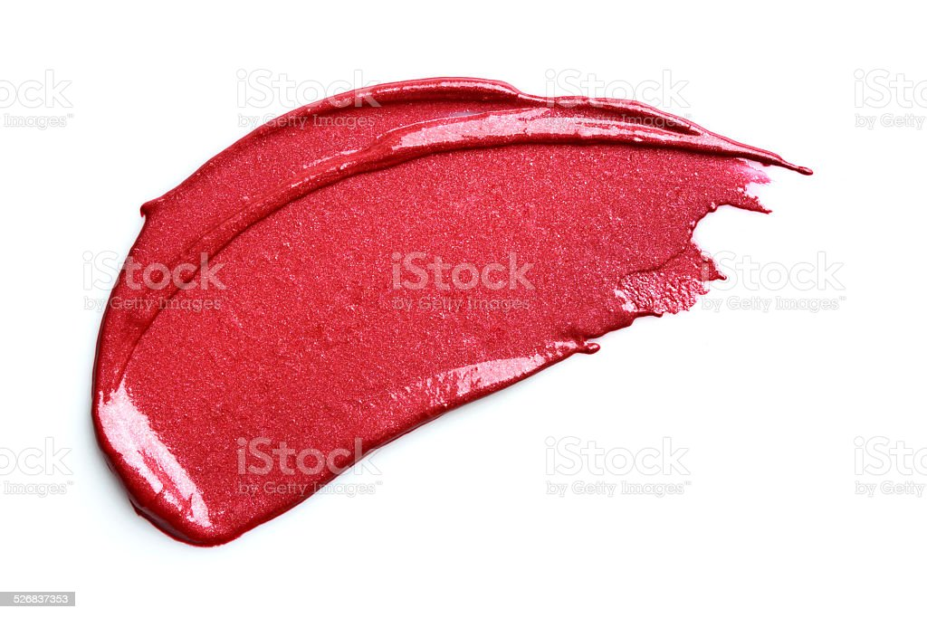 Red lipstick smeared stock photo