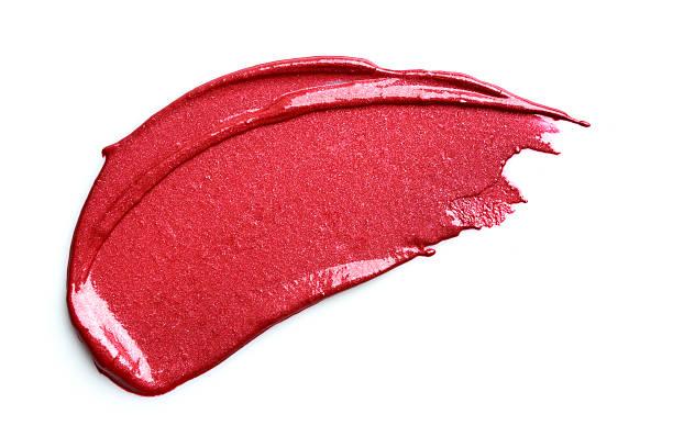 red lipstick smeared - bevlekt stockfoto's en -beelden