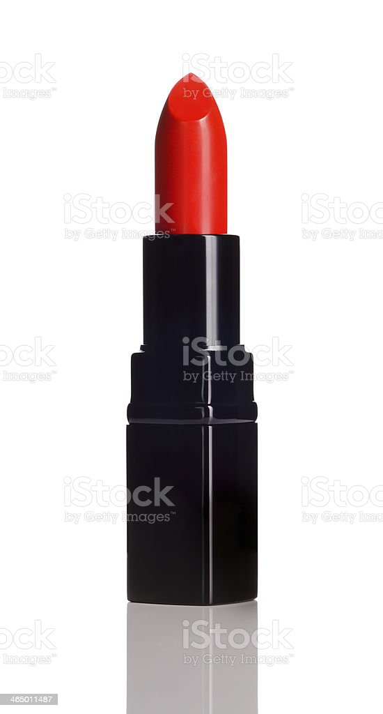 Red lipstick with black case on a white background stock photo