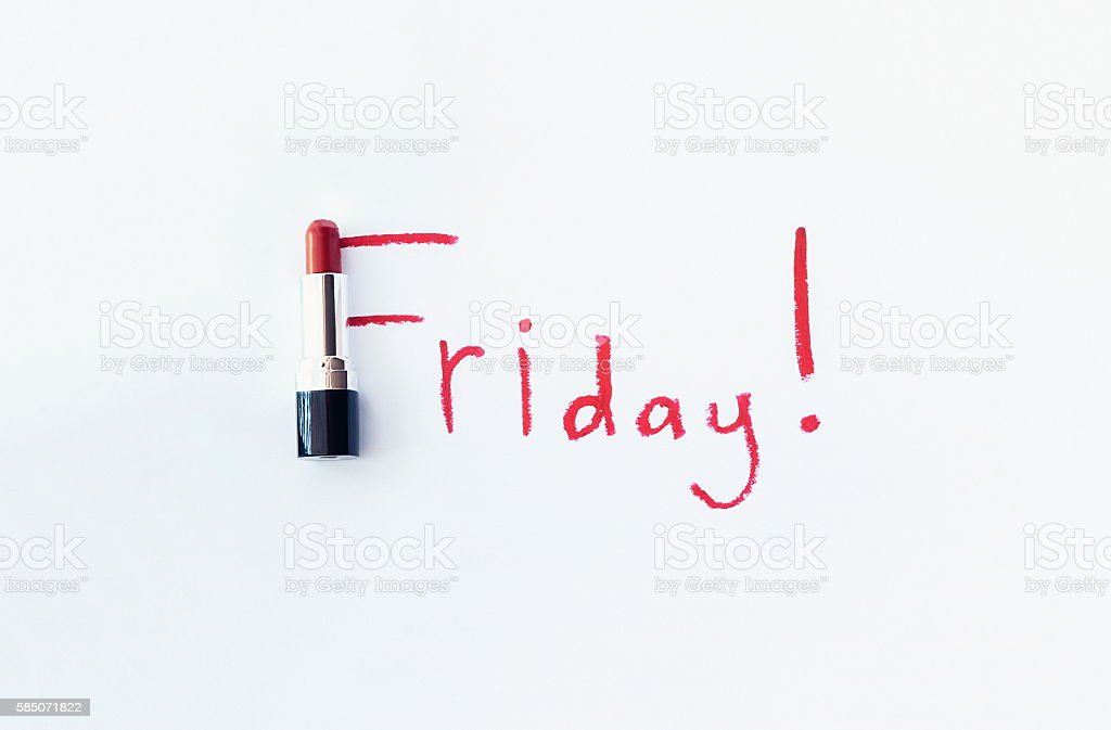 Red lipstick with Friday text stock photo