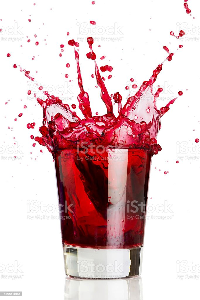 Red liquid splash stock photo