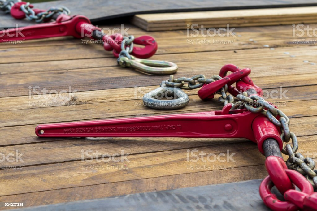 Red Load Chain Binder stock photo