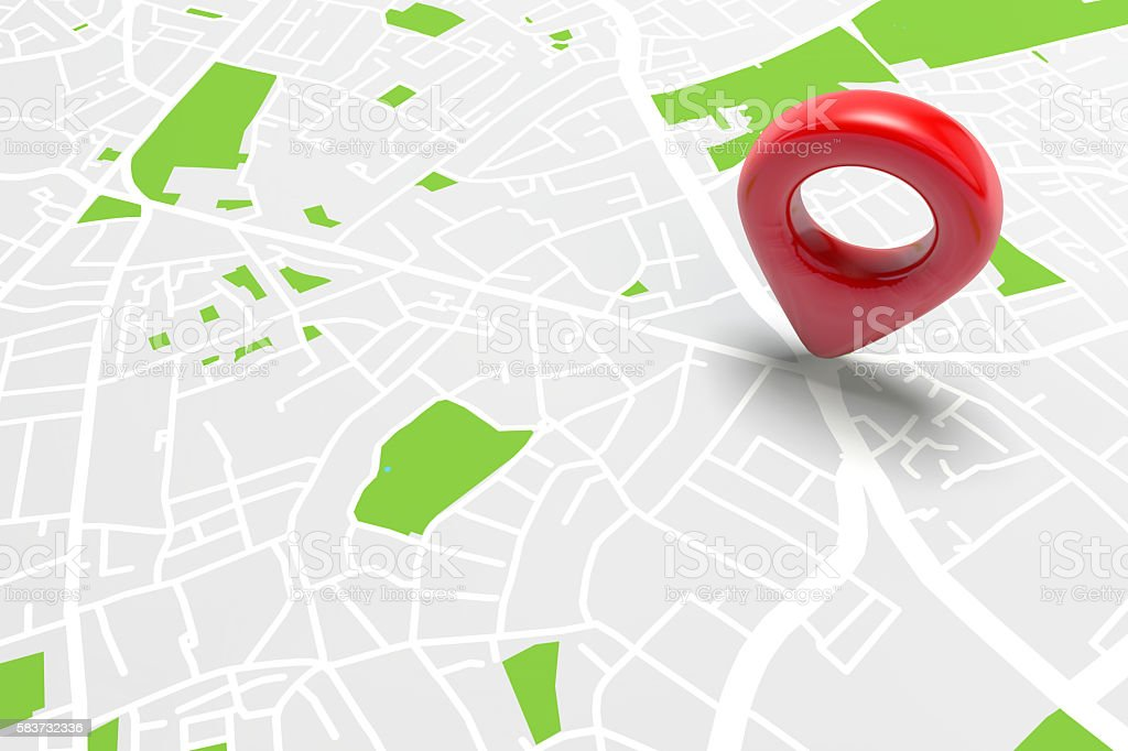 Red location marker on a city map bildbanksfoto