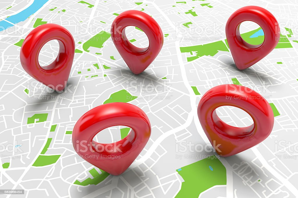 Red location markers on a city map stock photo