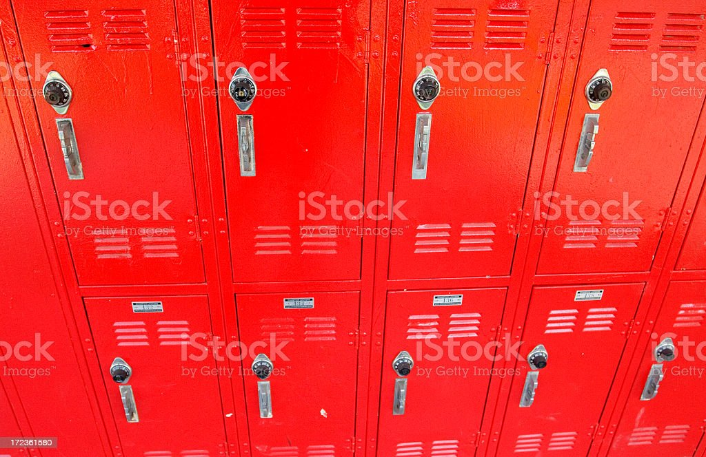 red lockers royalty-free stock photo