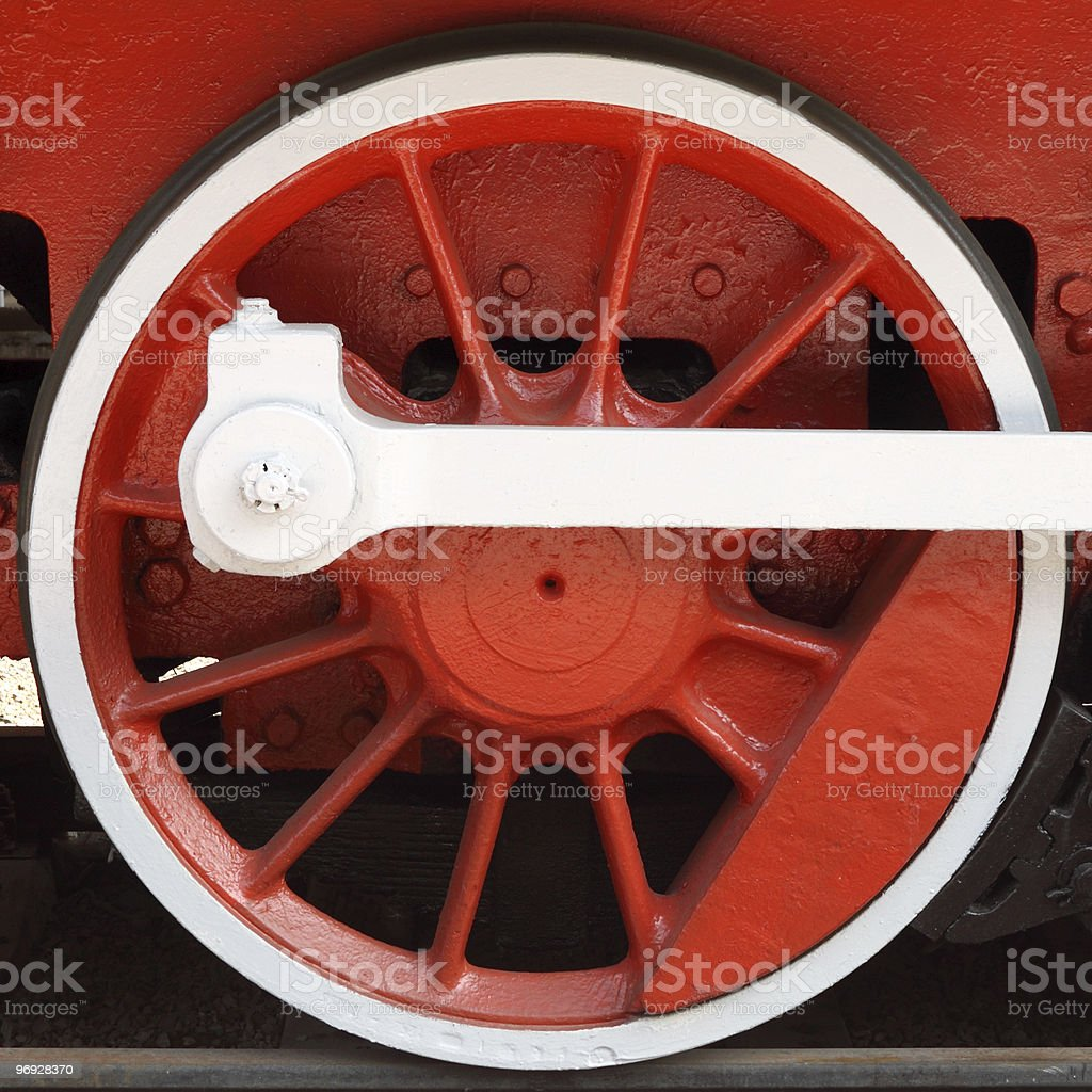 Red locomotive wheel royalty-free stock photo