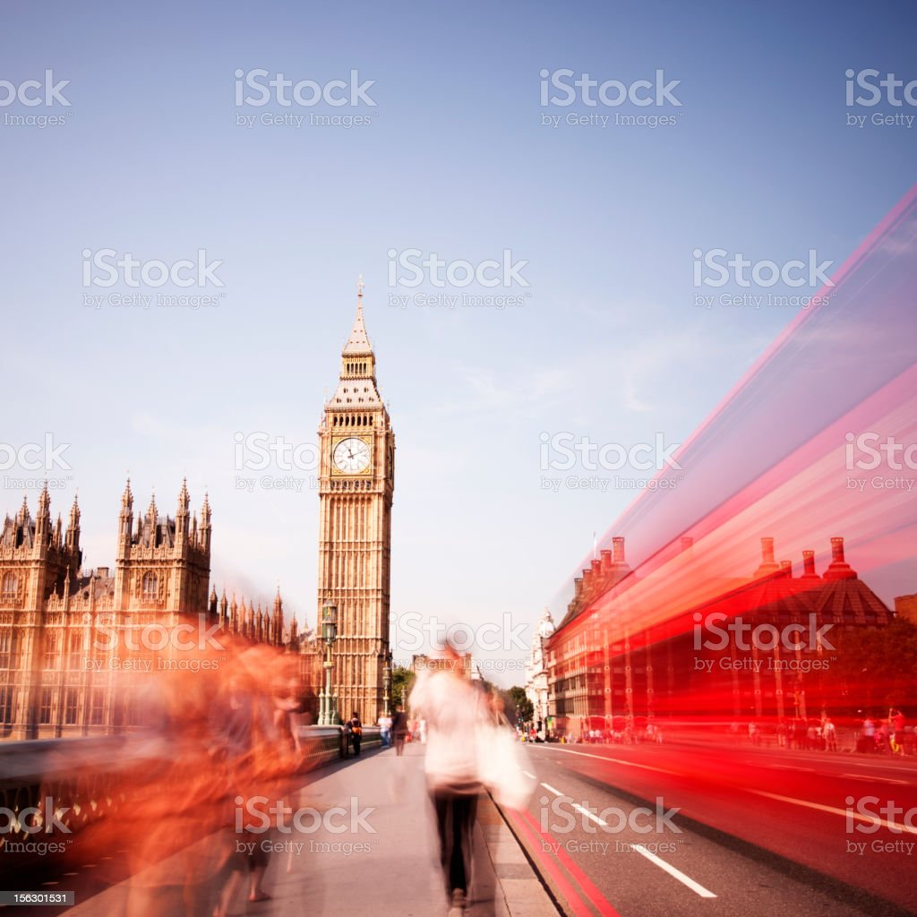 Red London bus, Westminster Bridge, Big Ben stock photo