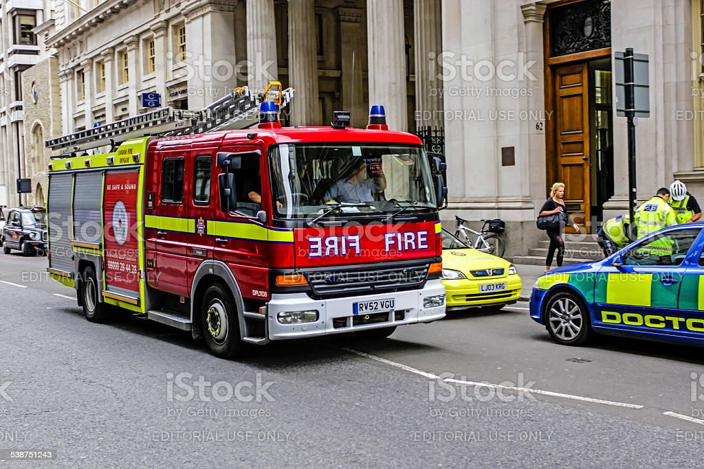 Red London Fire Engine stock photo