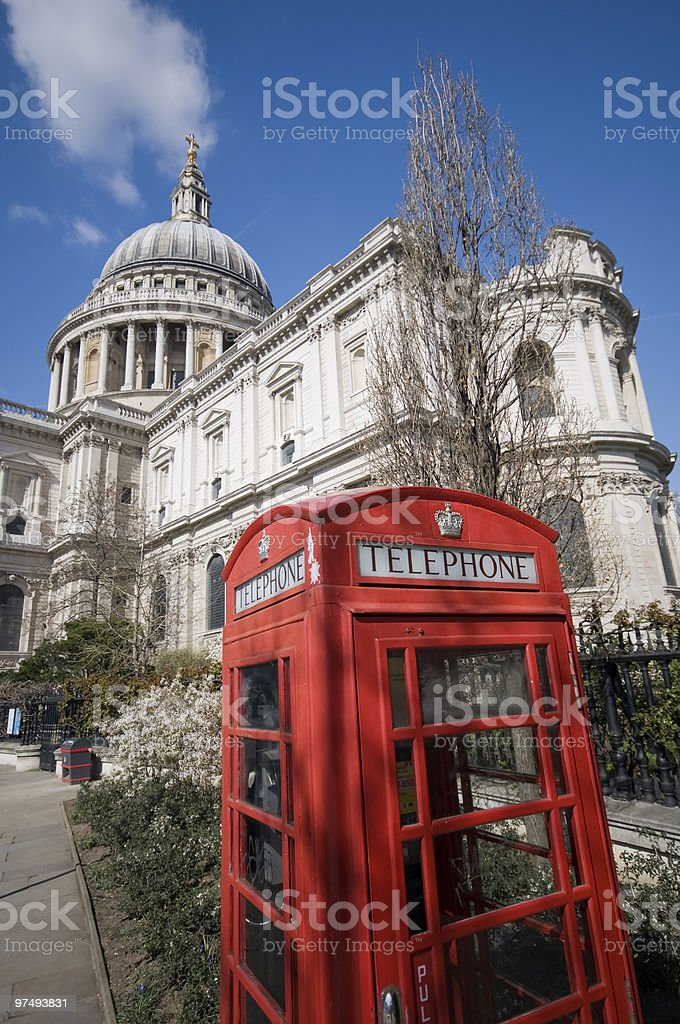 Red London phonebooth infront of St. Pauls. royalty-free stock photo