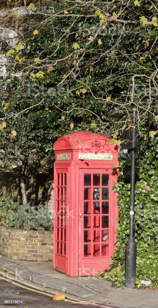 Red London telephone box K2 design on Millbank stock photo