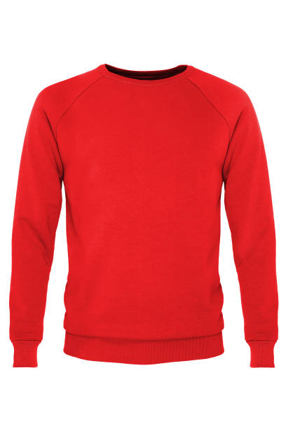 Red long sleeve t-shirt Red long sleeve t-shirt isolated on white background sweater stock pictures, royalty-free photos & images
