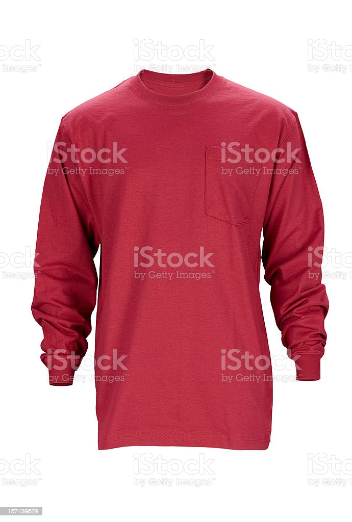Red long sleeved blank t-shirt front-isolated on white w/clipping path stock photo