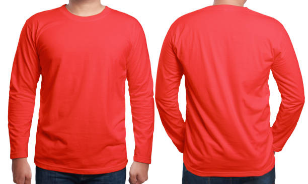 Red Long Sleeved Shirt Design Template Red long sleeved t-shirt mock up, front and back view, isolated. Male model wear plain red shirt mockup. Long sleeve shirt design template. Blank tees for print red shirt stock pictures, royalty-free photos & images