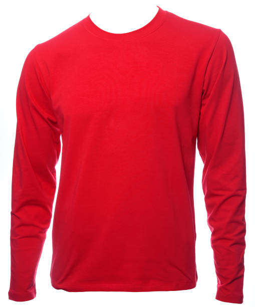 Red longsleeve cotton tshirt template isolated Red plain long sleeved cotton T-Shirt template isolated on a white background long sleeved stock pictures, royalty-free photos & images