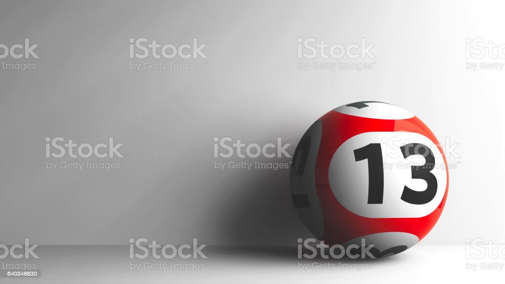 Red lottery ball 13 stock photo