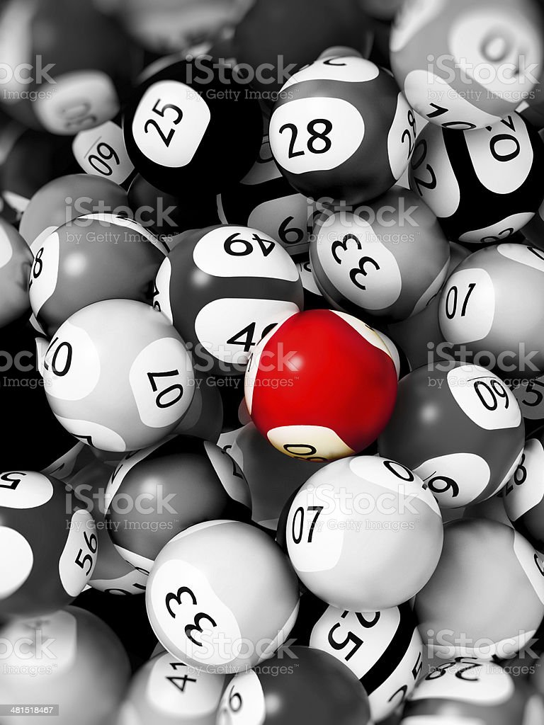 Red lottery ball stock photo
