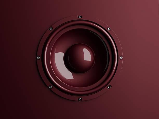 Red loudspeaker on background stock photo