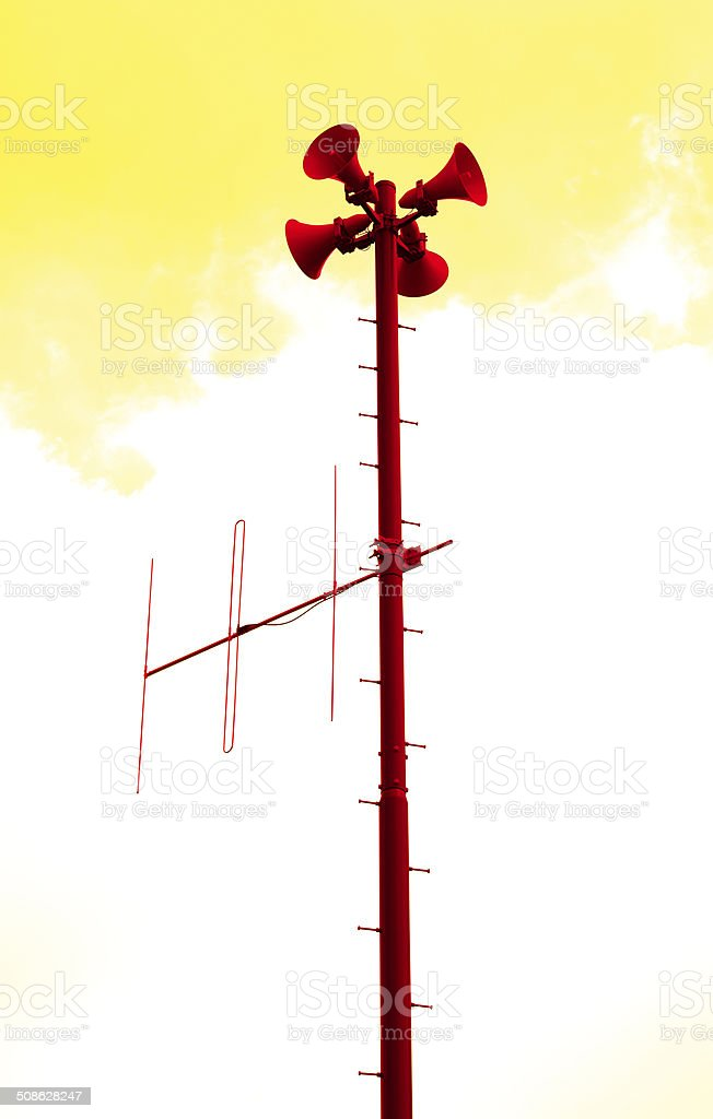 Red loudspeakers with antenna to be used when disaster strikes stock photo