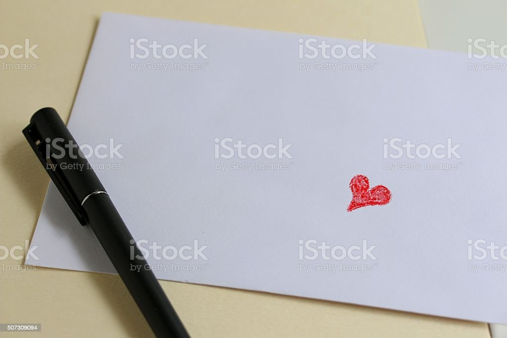 Red Love Heart On White Envelope stock photo