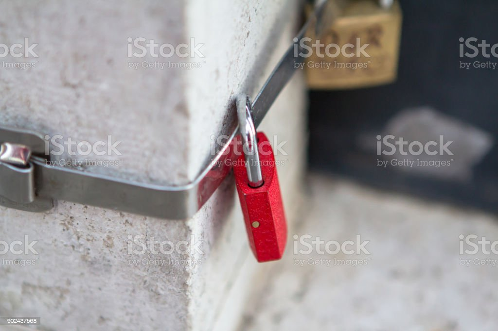 Red love lock stock photo