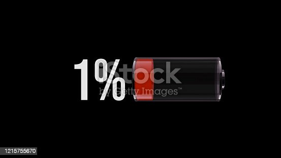 Design element vector red low battery warning on black background