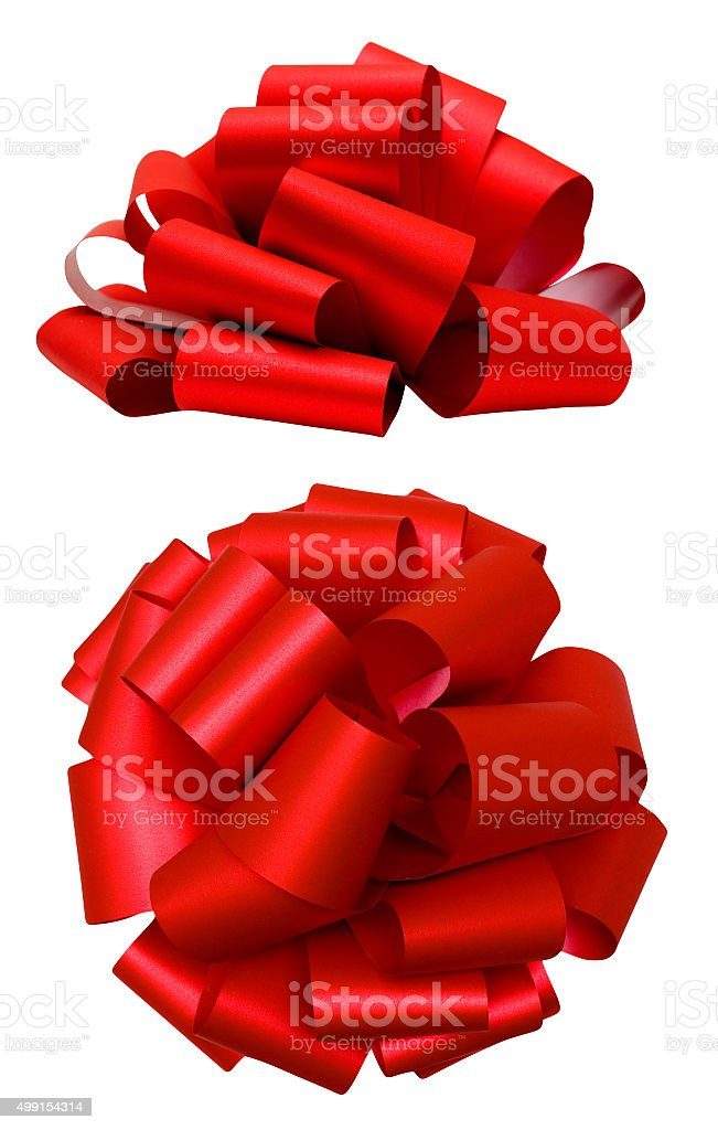 Red lush bow isolated over white, clipping path stock photo