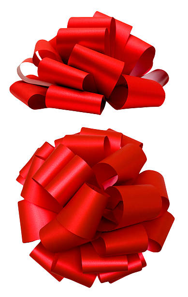 red lush bow isolated over white, clipping path - ribbon 個照片及圖片檔
