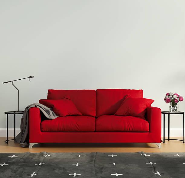 Red luxury bedroom stock photo