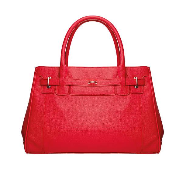 red luxury leather bag on white background - handtas stockfoto's en -beelden