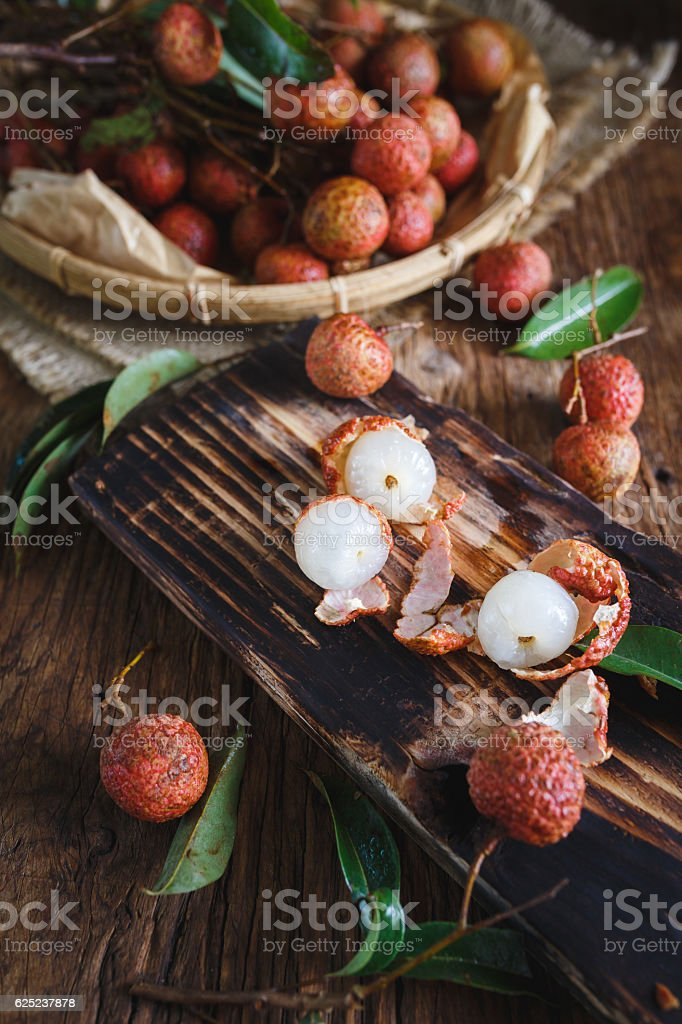 Red Lychees stock photo