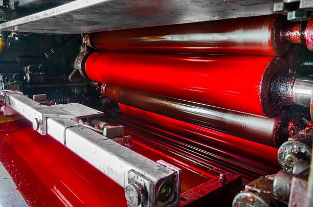 rot, magenda tinte farbe drum set von web-maschine - porzellan druck stock-fotos und bilder