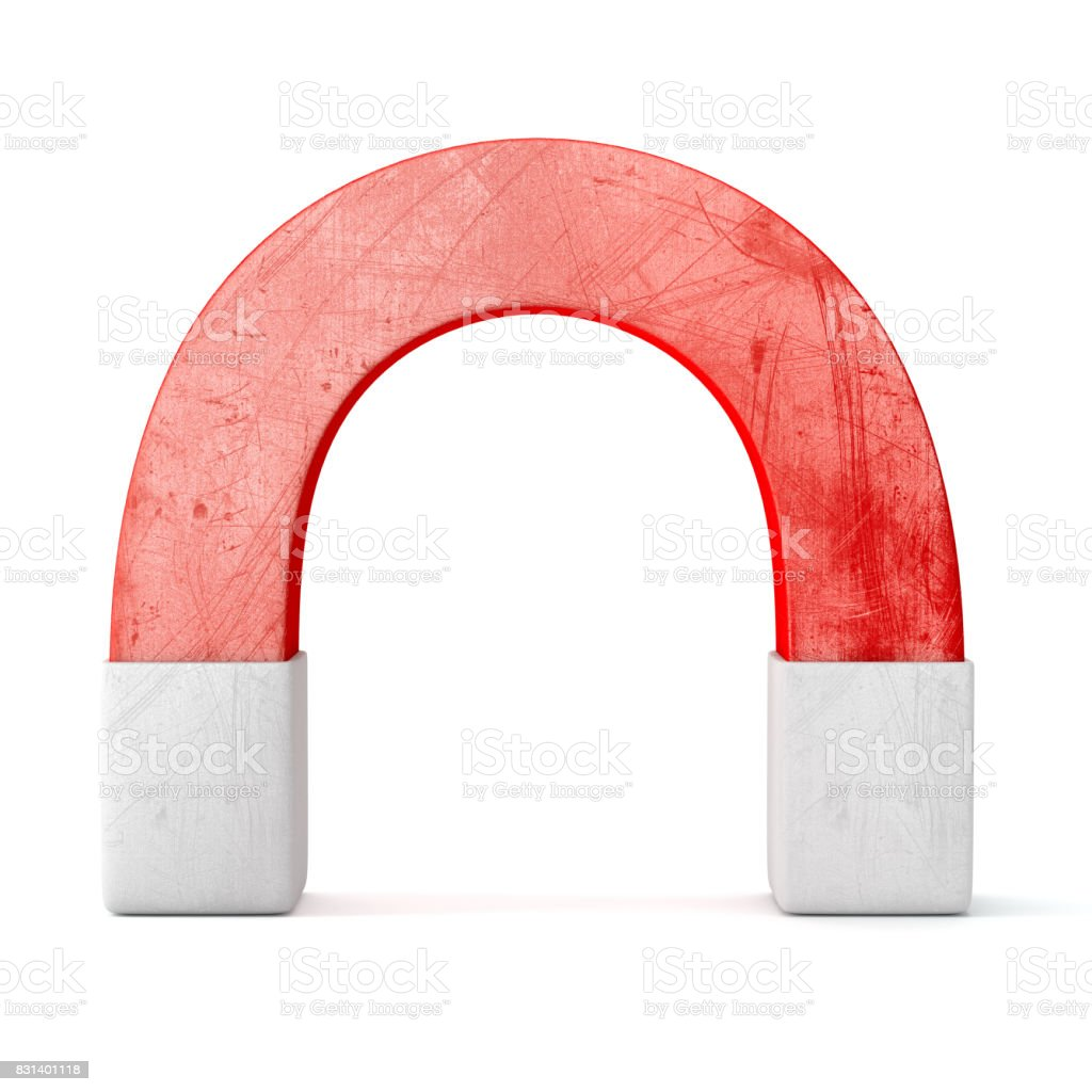 Red magnet isolated on white background stock photo