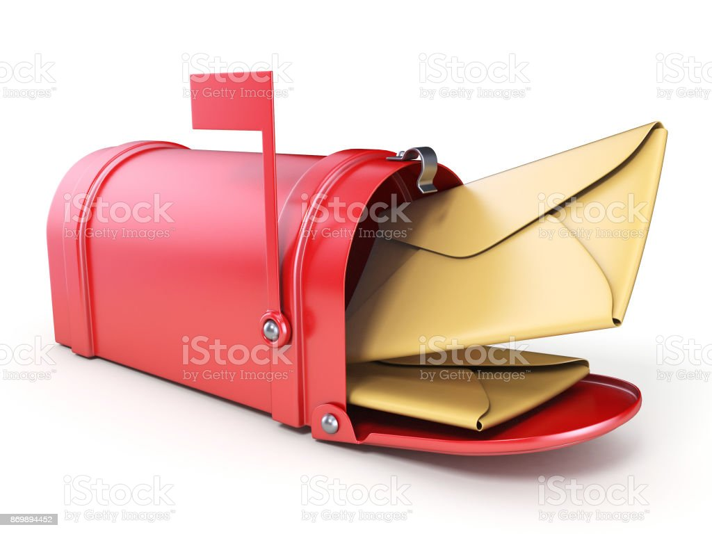 Red mailbox and two yellow envelope 3D stock photo