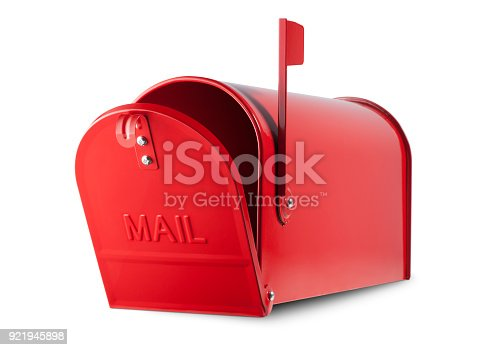 istock Red mailbox on white background 921945898