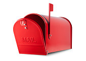 Red mailbox on white background.