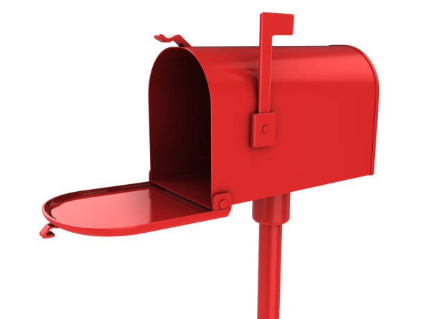 red mailbox 3d illustration of red maibox isolated over white mailbox stock pictures, royalty-free photos & images