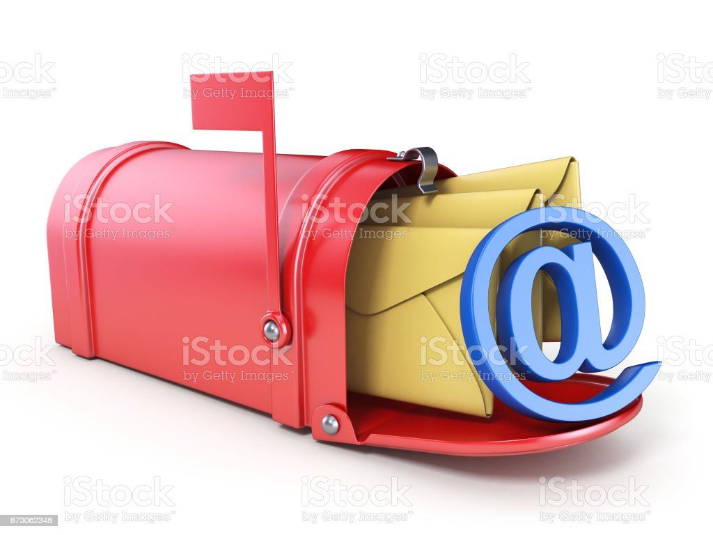 Red mailbox, two yellow envelope and blue AT sign 3D stock photo