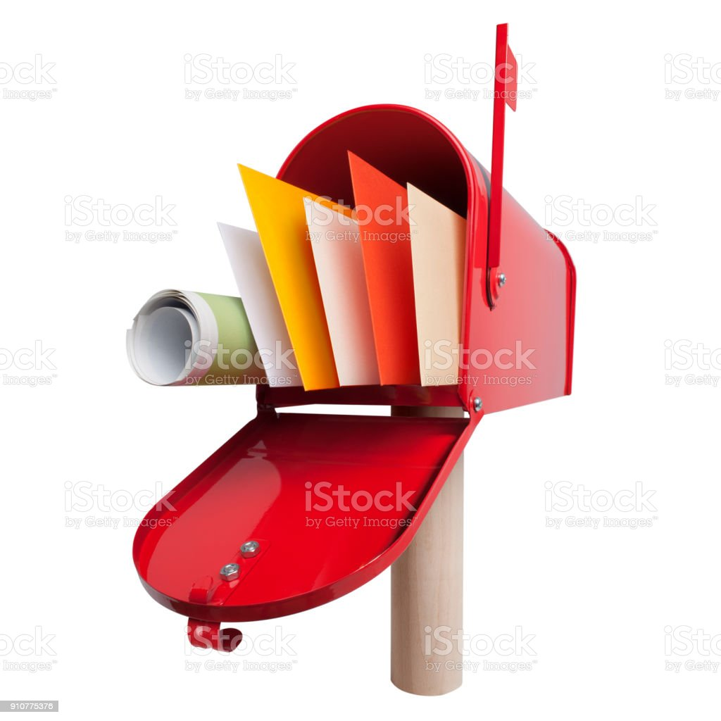 Red mailbox with letters and newspaper on white background stock photo