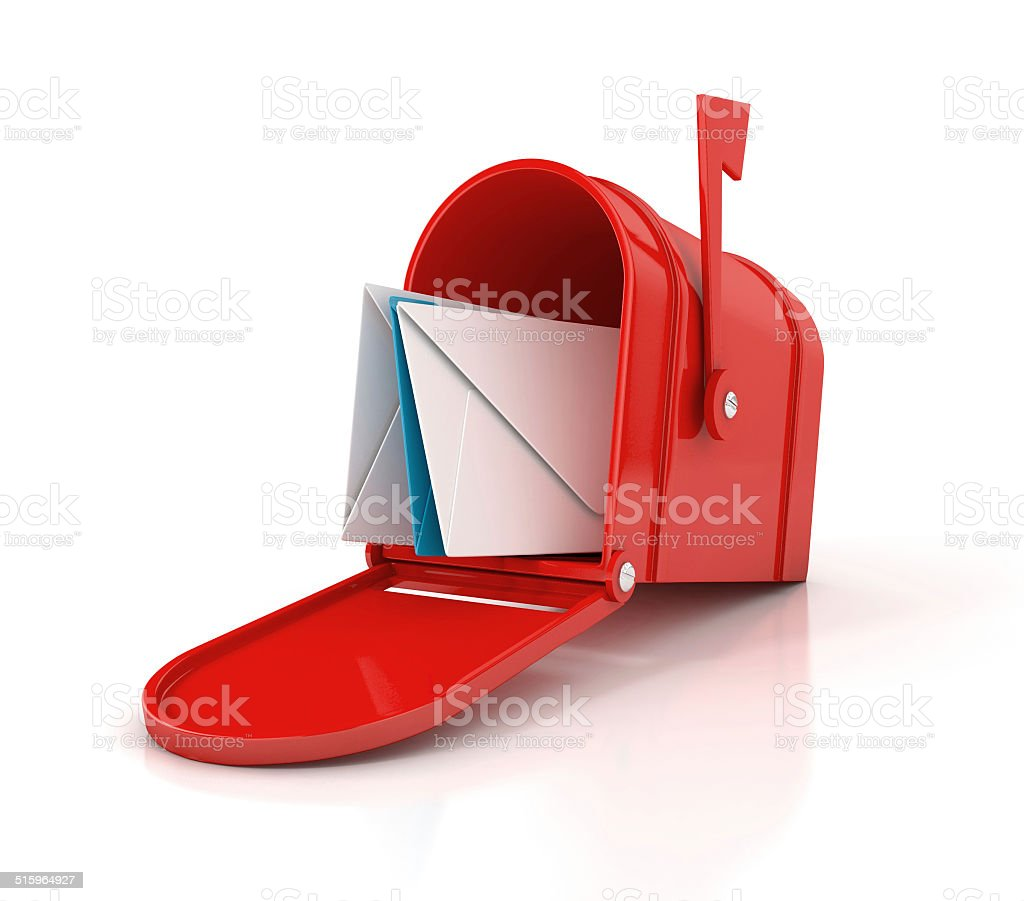 red mailbox with letters stock photo