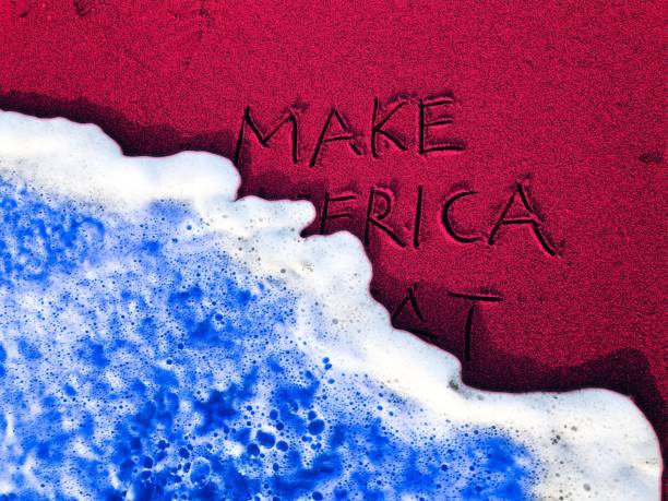 Red Make America Political Message with Blue Wave stock photo