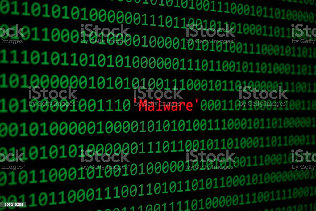 Red Malware and Binary code Concept Security and Malware attack. foto stock royalty-free
