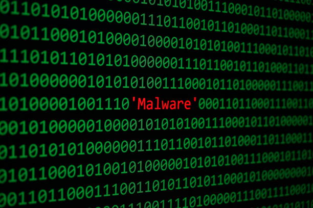 Red Malware and Binary code Concept Security and Malware attack. Red Malware and Binary code, Concept Security Malware and RansomWare attack. spyware stock pictures, royalty-free photos & images