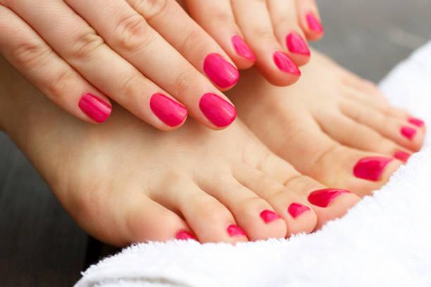 red manicure and pedicure - feet hand imagens e fotografias de stock