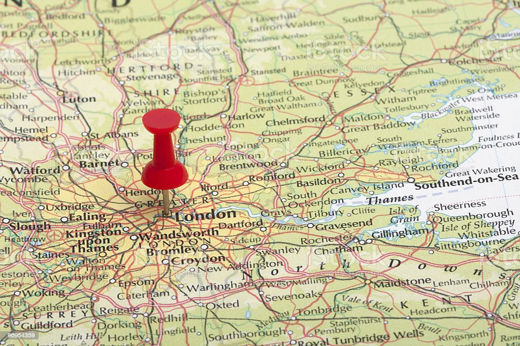 Red Map Pin Pointing at London, England royalty-free stock photo