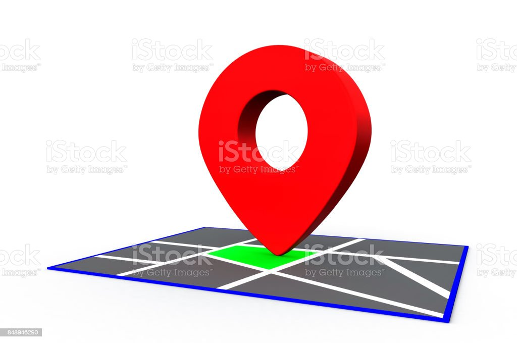 Red Map Point pin sign on the map. 3D Rendering stock photo