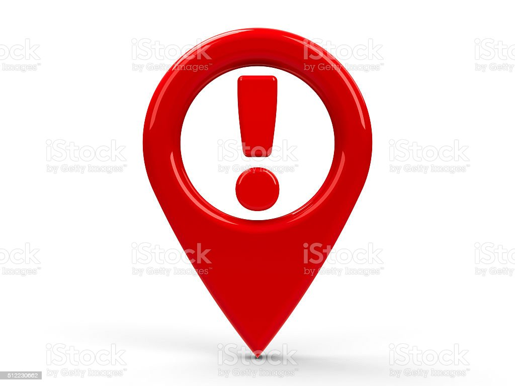 Red map pointer attention stock photo