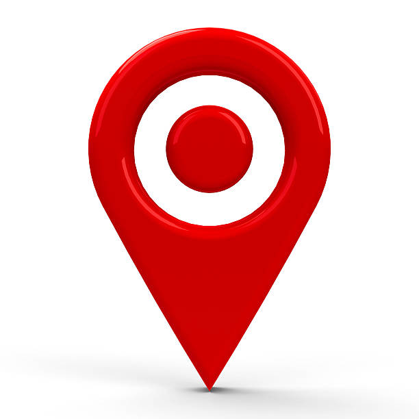 Red map pointer dot stock photo