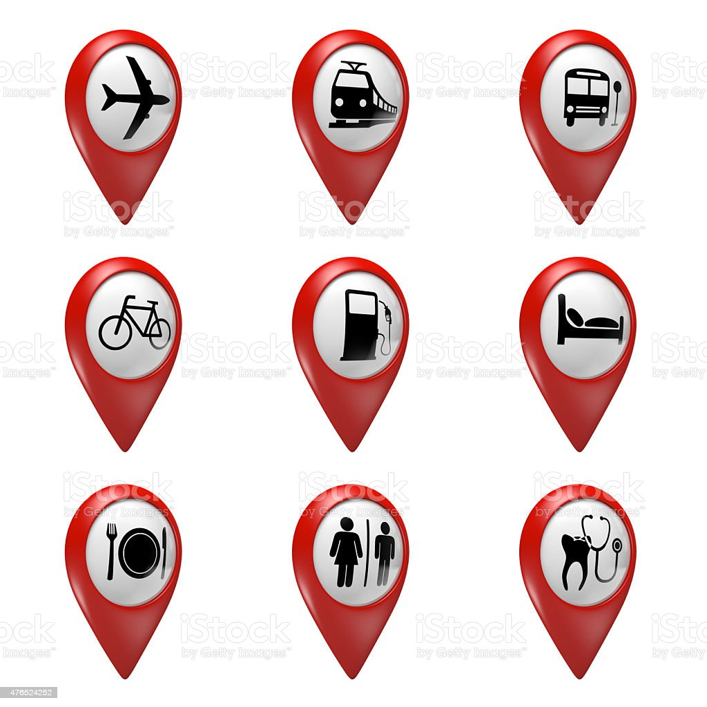 3D red map pointer icons set for transport, hotels, food stock photo